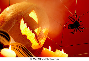 Black magic - Image of Halloween pumpkin with burning...