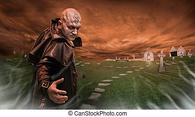 Black Magician in the leather raincoat is inviting you to a graveyard. Focus point on the Magician.