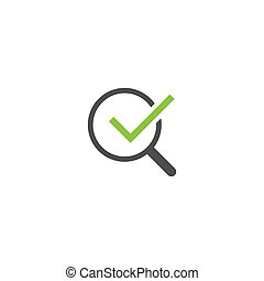 Black Magnifier with green ok tick isolated on white. Magnifying glass icon.