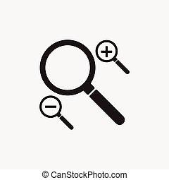 Black magnifying glass icons set