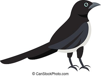 Black, magpie icon, flat style