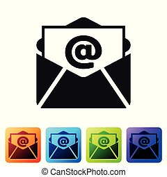 Black Mail and e-mail icon isolated on white background. Envelope symbol e-mail. Email message sign. Set icon in color square buttons. Vector Illustration