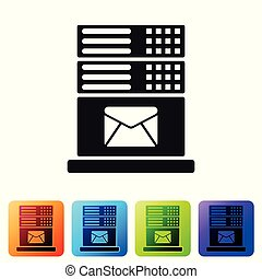Black Mail server icon isolated on white background. Set icon in color square buttons. Vector Illustration