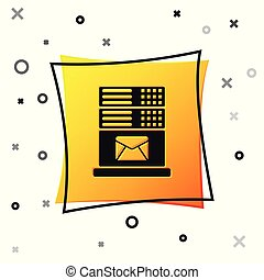 Black Mail server icon isolated on white background. Yellow square button. Vector Illustration