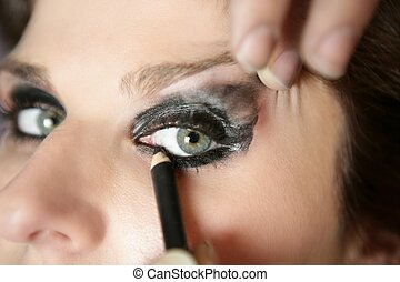 Black makeup eye shadows model