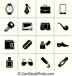 Black Male accessories and clothes icons