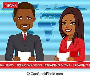 Black Male and Female Newscasters