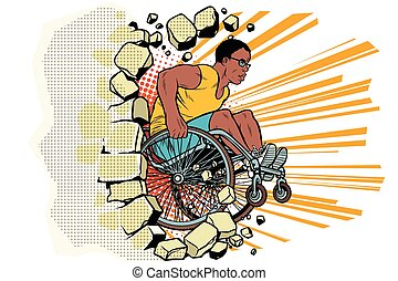 Black male athlete in a wheelchair punches the wall. African...