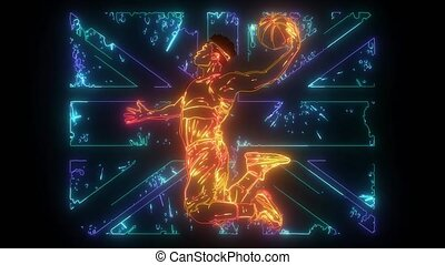 Black male basketball player running while bouncing the ball...