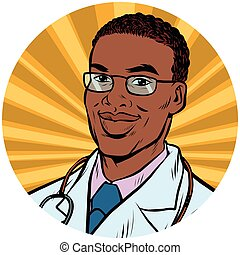 black male doctor African American pop art avatar character icon