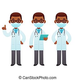Black male doctor cartoon set