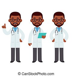 Black male doctor cartoon set