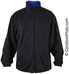 black male fleece jacket with blue lining isolated on white