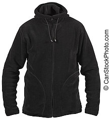 black male fleece sport jacket with hood isolated on white
