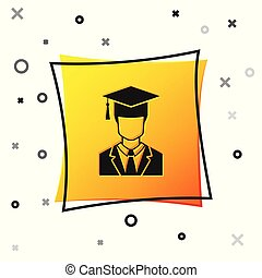 Black Male graduate student profile with gown and graduation cap icon isolated on white background. Yellow square button. Vector Illustration