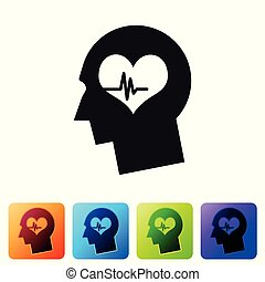 Black Male head with a heartbeat icon isolated on white background. Head with mental health, healthcare and medical sign. Set icon in color square buttons. Vector Illustration