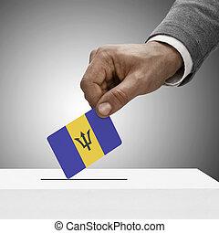 Black male holding flag. Voting concept - Barbados