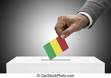 Black male holding flag. Voting concept - Mali