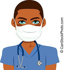 Black Male Nurse - Young black male nurse wearing surgical...