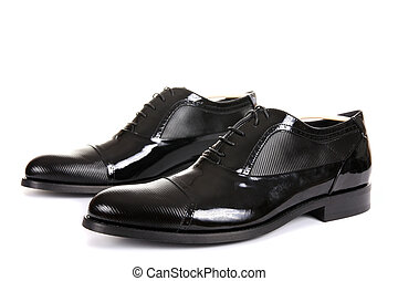 Black male shoes isolated on white
