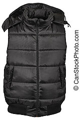 black male winter vest isolated on white