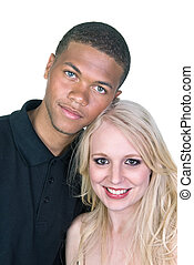 Black man and white woman couple in love