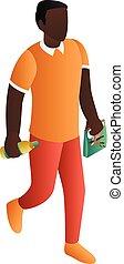 Black man at shopping icon, isometric style