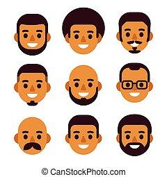 Black man avatar set
