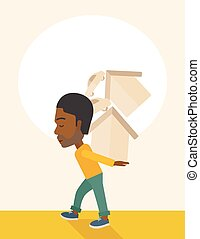 Black man carrying house and car.