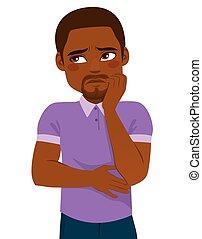 Black Man Concerned Face Expression