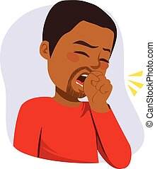Black Man Coughing - Illustration of young black man...