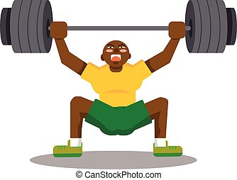 Black man doing snatch with weights, illustration, vector on...