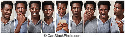 Black man face expression set - African american young man...
