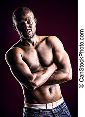 black man - Handsome muscular african american man. Over ...