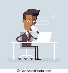 Black man has coffee break with a laptop. Vector. - Handsome...