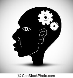Black Man Head Vector Illustration With Cogs - Gears