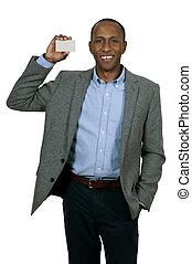 Black Man Holding Business Card