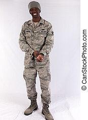 Black man in military uniform