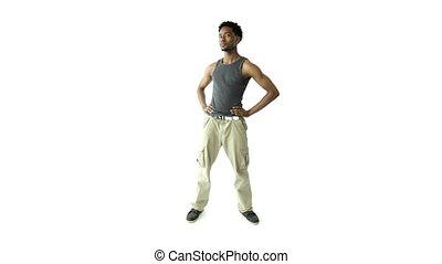 Black man isolated on white