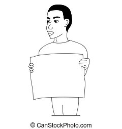 Black man protesting with a poster. Isolated outline stock vector illustration