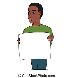 Black man protesting with a poster. Isolated stock vector illustration