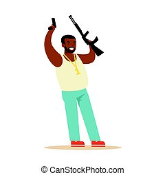 Black Man Raising His Hands With Guns To Surrender Robbery Colorful Character Vector Illustration