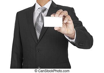 Black man showing business card