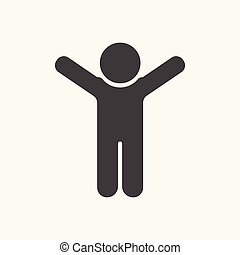 Black man silhouette flat icon, hands up.