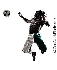 black man soccer player silhouette