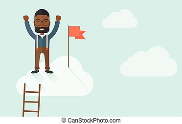 Black man standing on the top of cloud with red flag.