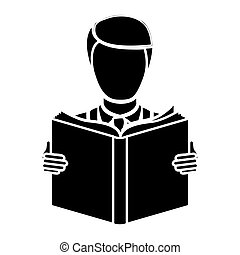black man to read a book icon