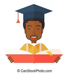 Black man with graduation cap.