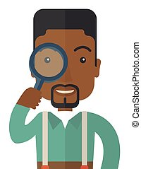 Black man with magnifying glass.