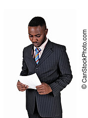 Black man with paper.